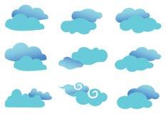 Cute Fancy Clouds Vector Design Element Set Stock Photos