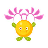 Cute fantastic yellow plant character round shape, nature element cartoon vector Illustration Royalty Free Stock Photos