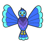 Cute fantasy bluebird Vector illustration Royalty Free Stock Image