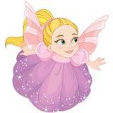 Cute fantasy cartoon little fairy girl vector illustration