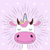 Cute fantasy cow unicorn. Sweet kids graphics for t-shirts. Royalty Free Stock Image