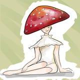 Cute fantasy halloween cartoon sketch illustration. Young mushroom lady with red polka dots hat stock illustration