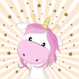 Cute fantasy horse unicorn. Greetihg card. Vector illustration. Cute fantasy horse unicorn. Sweet kids graphics for t-shirts. Greetihg card. Vector illustration Stock Photo