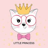 Cute fantasy kitty little princess . Greeting card. Cute fantasy kitty little princess . Sweet kids graphics for t-shirts. Greeting card Stock Image