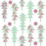 Cute fantasy odd spruce trees seamless pattern and seamless patt Royalty Free Stock Image