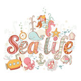Cute fantasy summer sea card Royalty Free Stock Photography