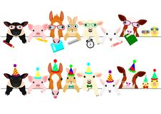 Cute farm animal babies border set. In a row, with school items and with party hats and ties stock illustration
