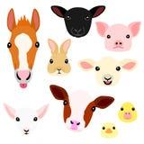 Cute farm animal babies face set.  royalty free illustration