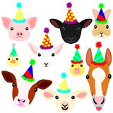 Cute farm animal babies face set. With party hat set stock illustration