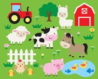 Cute Farm Animal Cartoon Vector Illustration stock illustration