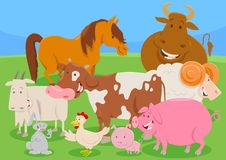 Cute farm animal characters group Stock Image