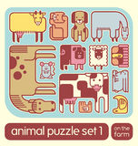 Cute farm animal icons puzzle set Stock Photos