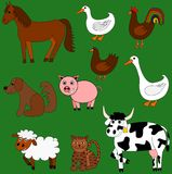 Cute farm animals. Illustration of cute farm animals with green background Royalty Free Stock Photography