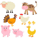 Cute farm animals Stock Images