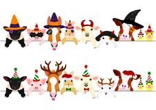 Cute farm animals border set, with Halloween costumes and with Christmas costumes.  royalty free illustration