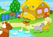 Cute farm with animals. Cartoon illustration. Stock Images