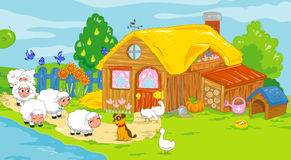 Cute farm and animals. Children illustration. Stock Photo