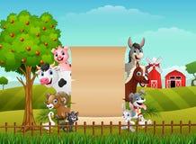 Cute farm animals on the farmland. Illustration of Cute farm animals on the farmland royalty free illustration