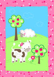 Cute farm animals on a hill embroidery Royalty Free Stock Photo