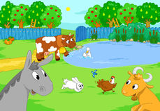 Cute farm animals at the lake. Cartoon illustration. Stock Images