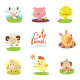 Cute farm animals with scenery set stock illustration