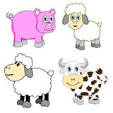 Cute Farm Animals Set. Cute Farm Animal Sets consists of sheep, cow and pig Stock Images
