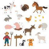 Cute Farm animals set in flat style isolated on white background. Cartoon farm animals. Royalty Free Stock Images