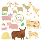 Cute farm animals set on white background. Cute farm animals on white background, vector illustration. Cartoon cow, horse, pig, chicken and other animals Royalty Free Stock Photography