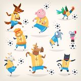 Cute farm animals team playing soccer on different positions. First team. Cute farm animals team playing soccer on different positions. Funny vector pets Royalty Free Stock Image
