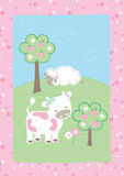 Cute farm animals. Vector illustration of a cow and sheep in a field Royalty Free Stock Photography