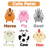 Cute farm animals wildlife set. Children style, isolated design elements, vector illustration. Goat, horse, pig