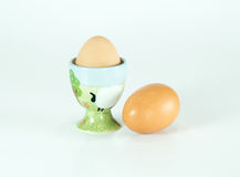 Cute farm ceramic egg holder isolated Royalty Free Stock Image