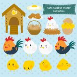 Cute Farm Chickens Vector Collection. Set of cute chickens and farm items cartoon . cute rooster, hen and chicks set royalty free illustration