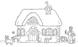 Cute farm, coloring illustration Royalty Free Stock Photo