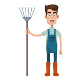 Cute farmer coveralls and pitchfork Royalty Free Stock Images