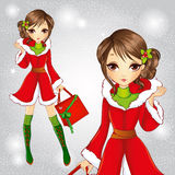 Cute Fashion Brunette Girl Dressed As Santa Claus Stock Photography
