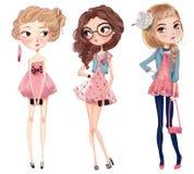 Cute cartoon hipster girls. Cute fashion cartoon girls in sketchy style Royalty Free Stock Photos
