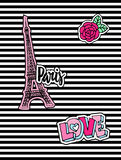 Cute fashion chic t-shirt design, background, cover with patch badges. Paris romantic design, Eiffel tower, hearts. Set Royalty Free Stock Photo