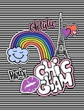 Cute fashion chic t-shirt design, background, cover with patch badges. Paris romantic design, Eiffel tower, hearts. Set Royalty Free Stock Image