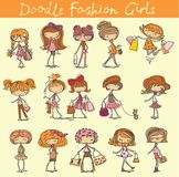 Cute fashion doodle girls. Vector set of 15 cute fashion doodle girls stock illustration