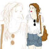 Cute fashion girl with bag  illustration Royalty Free Stock Photos