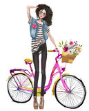Cute fashion girl with bicycle Stock Photography