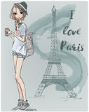 Cute fashion girl stock illustration