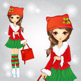 Cute Fashion Girl Dressed In Santa Claus Costume Stock Image