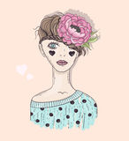 Cute fashion girl illustration. Young girl with braided hair stock illustration