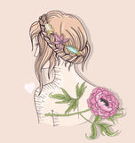 Cute fashion girl illustration. Young girl with braided hair Royalty Free Stock Photography