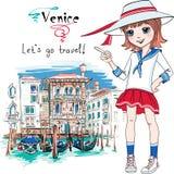 Cute Fashion Girl In Venice, Italia. Royalty Free Stock Photography