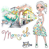 Cute fashion girl in Manarola, Italia. Royalty Free Stock Photos