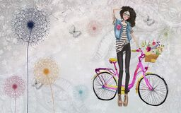 Free Cute Fashion Girl On The Pink Bicycle With Flowers,3d Wallpaper Textere Stock Photography - 216318702