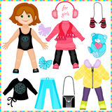 Cute fashion girl. Paper doll with a set of clothes. Cute fashion girl. Template for cutting Royalty Free Stock Photography